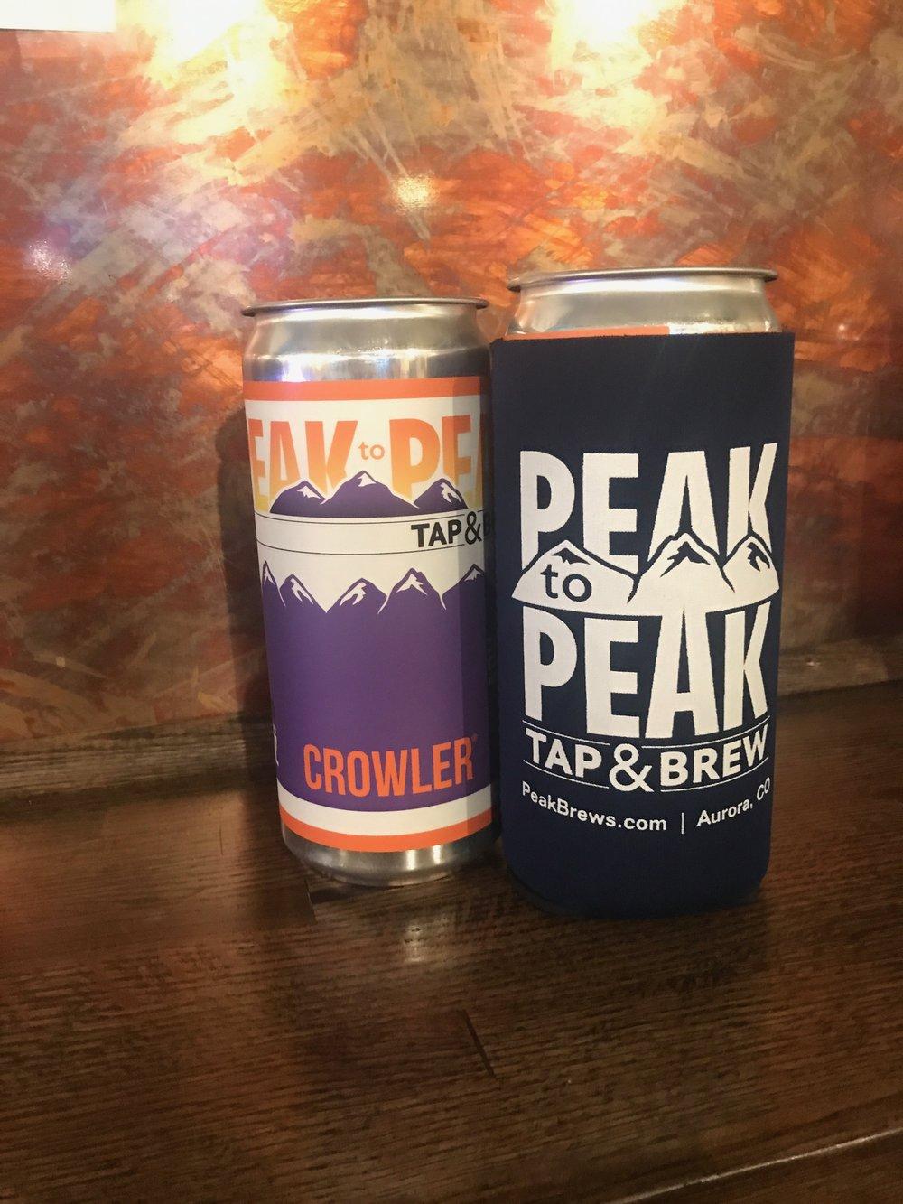 crowler koozie peak to peak tap brew