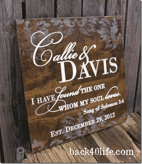 Stained Wedding Sign - Callie 1