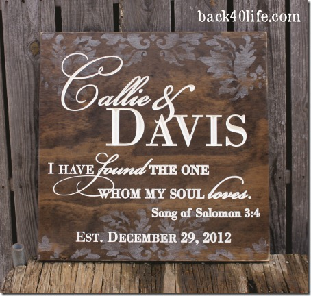 Stained Wedding Sign - Callie 2