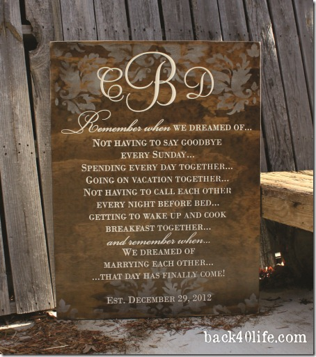 Stained Wedding Sign - Callie 3