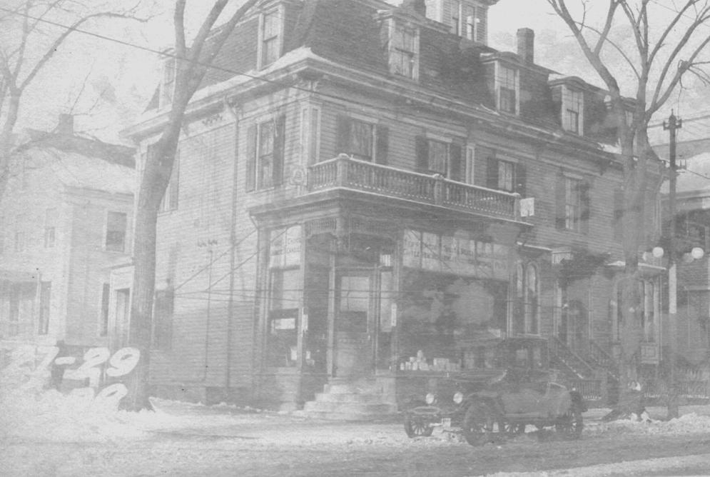 Hilton's Drugstore circa 1924. 129 Congress St, corner of North St.