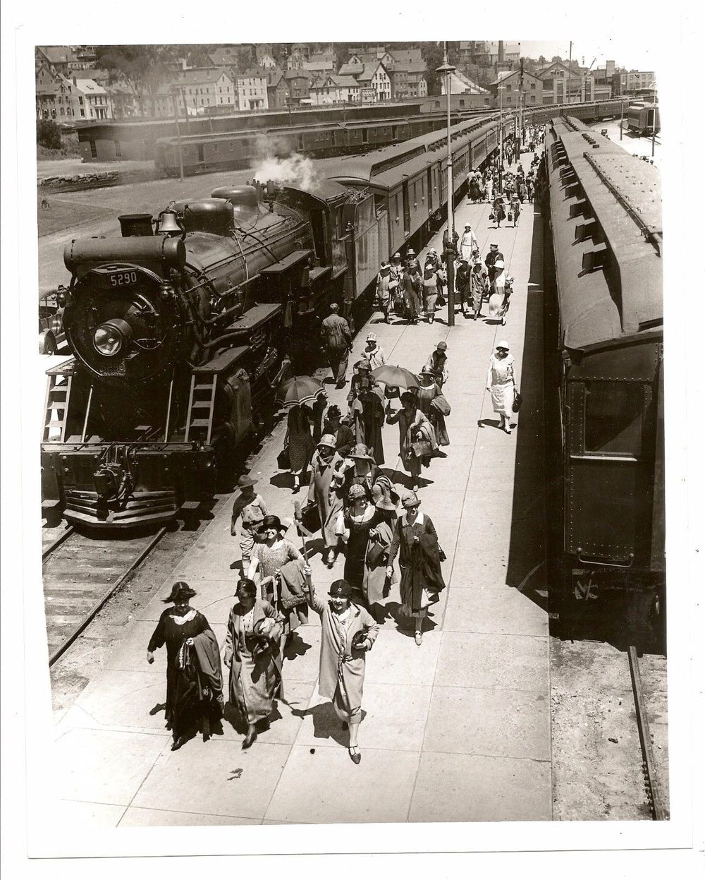 Atlantic & St. Lawrence RR disembarking passengers near Munjoy Hill. Photo by Edwin Robinson, date unknown.