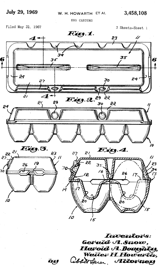 The original patent filing for the modern egg carton, invented by the Portland Company.