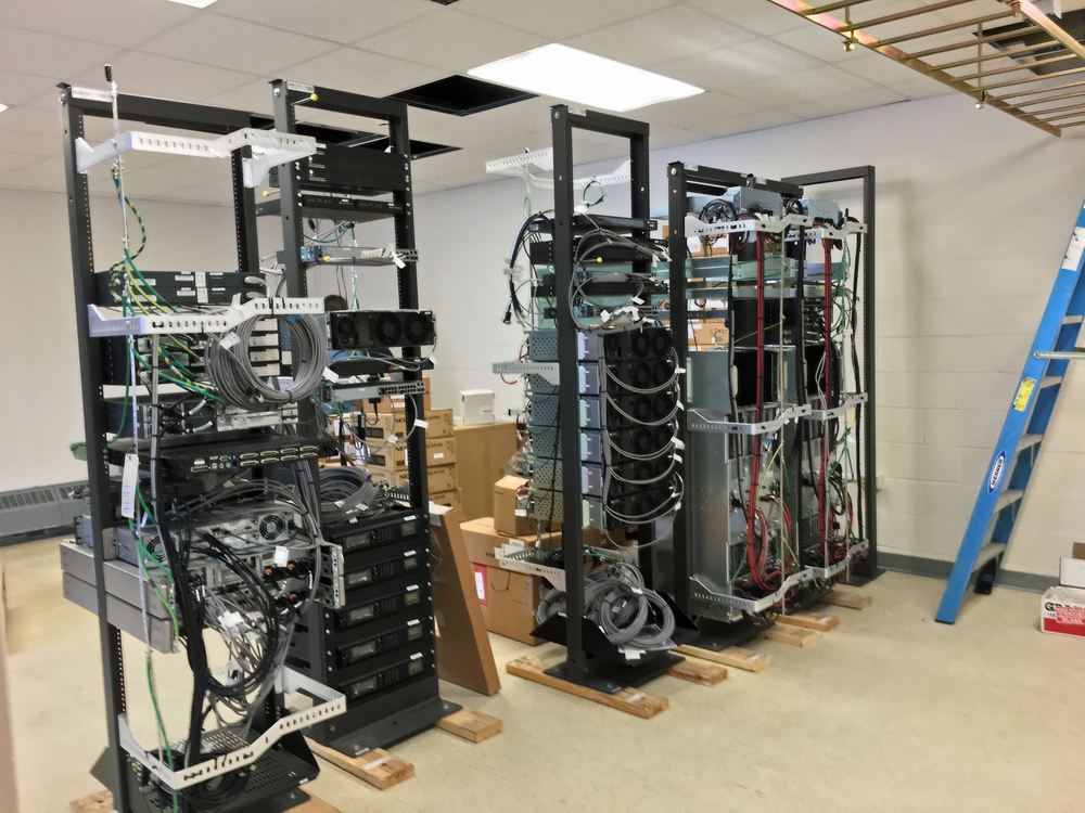 Server racks being installed for a reported Emergency Command Center at Munjoy Hill's Cummings Center at 134 Congress St.