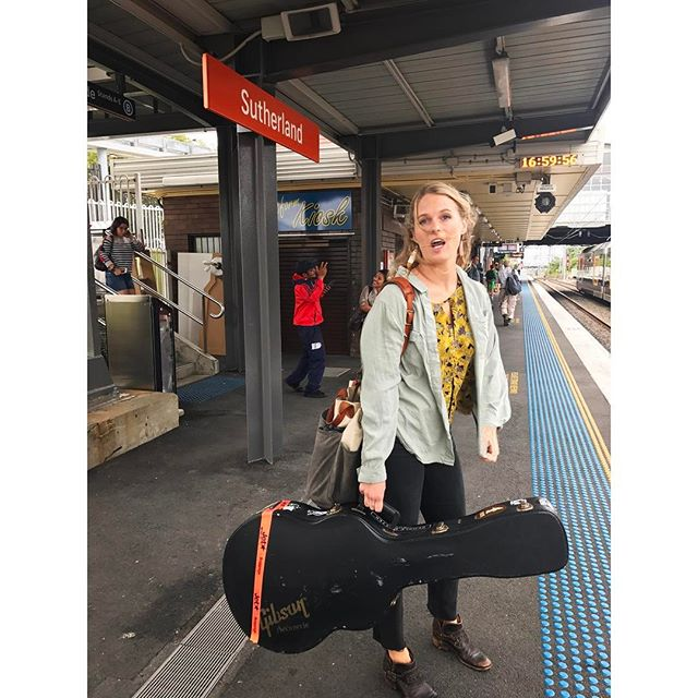 . Step 1 to blending in to the Sydney music scene: Look expertly cool on train platform, preferably casually holding instrument of your choice. . Oh! Look at that! ✅ #native