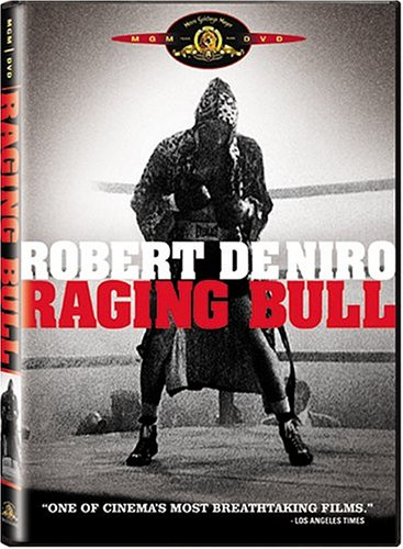 Film Content Example - Online Store - English - RAGING BULL is director Martin Scorsese's lacerating film biography of middleweight boxing champion Jake La Motta, who was known during his brief reign as 'The Bronx Bull.' La Motta (played with extraordinary brilliance by Robert De Niro) had early lessons in life: to steal and to fight. His aggression in the ring was a means of combating deep-seated anxieties and emotional fears. This determination and rage turned him from a young hoodlum into a champion. But his drive for the title, his brutality outside of the ring and his almost-psychotic sexual jealousy will destroy his marriage to Vickie (Cathy Moriarty) and his deepest friendships. After Vickie leaves him, a final violent confrontation with his patient, supportive brother and manager, Joey (Joe Pesci) -and the loss of his title, La Motta begins a downward slide.