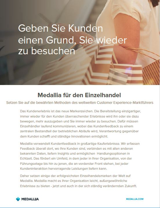 Medallia for retail - German localisation