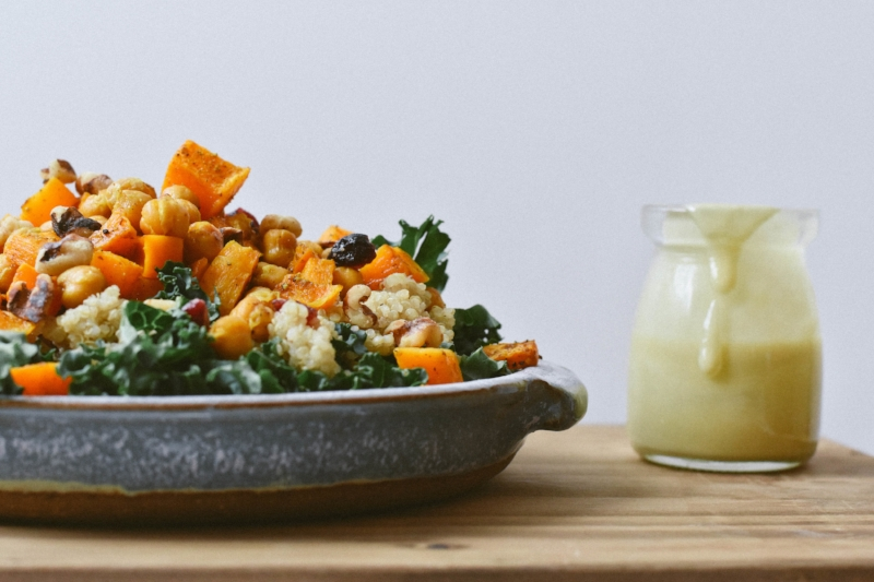 - kale, butternut squash, and chickpea salad w/ a tahini dressing -