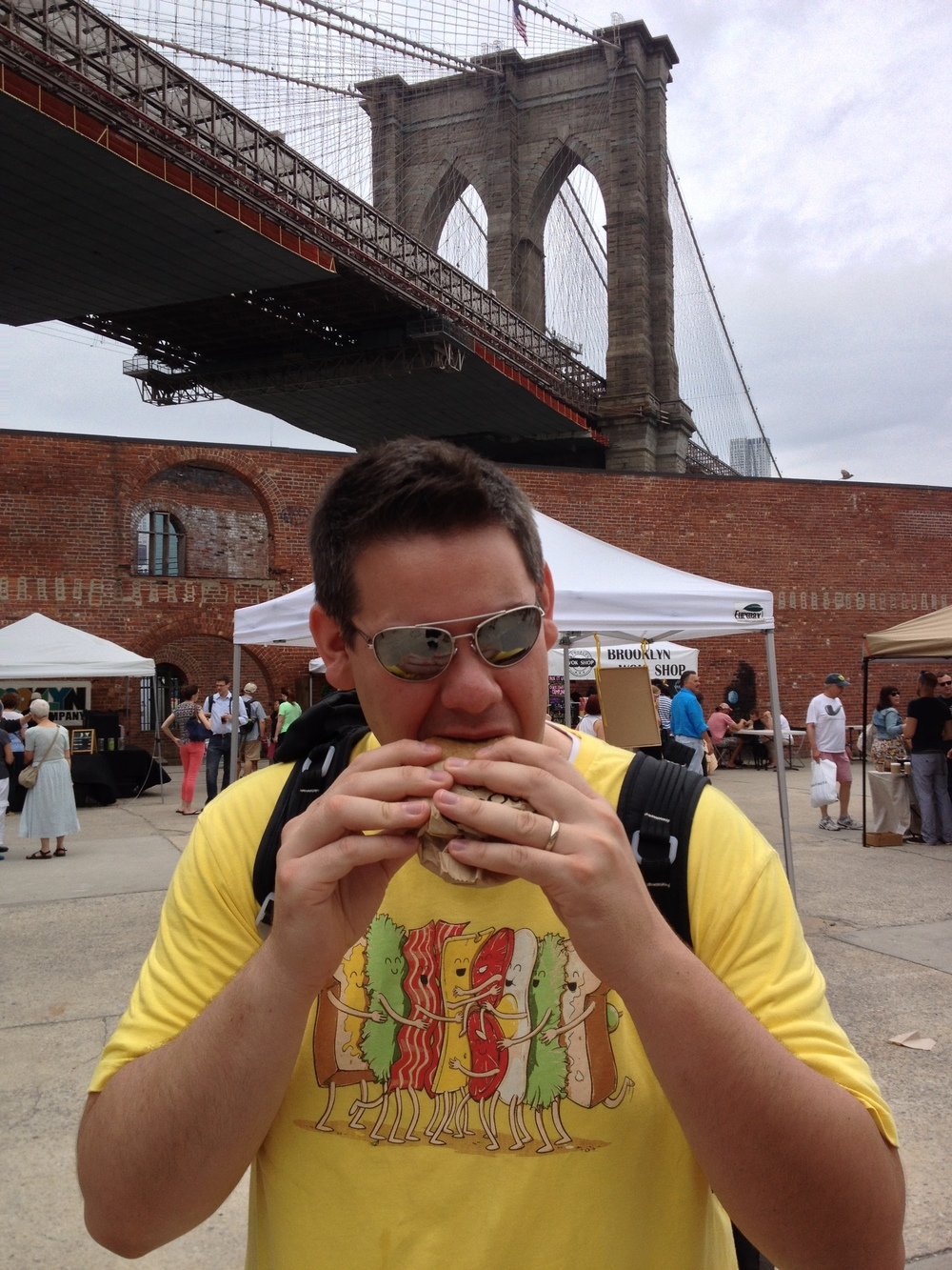 Sandwich? Check. Brooklyn? Check. Awesome backdrop? Double check. NYC is Tim's perfect food destination.