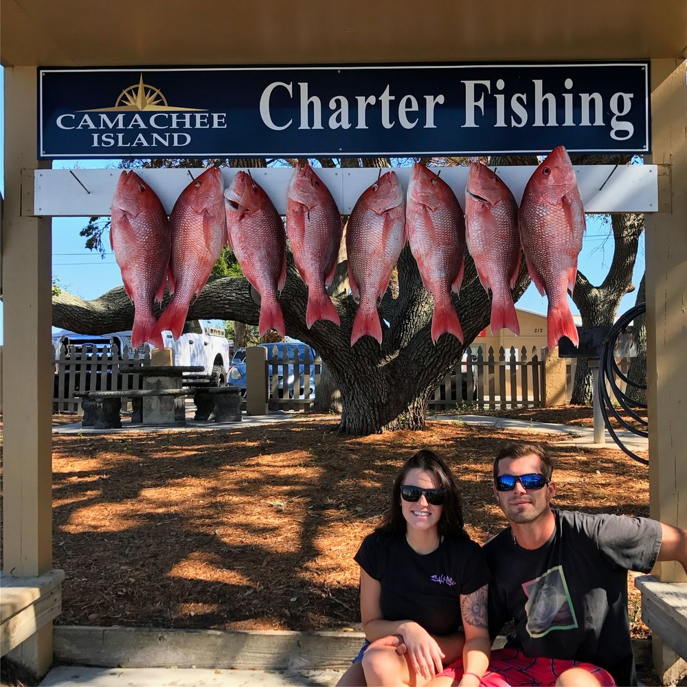 Shae and me with some red snapper on Drop Down Sport Fish Charters St.Augustine Florida deep sea fishing