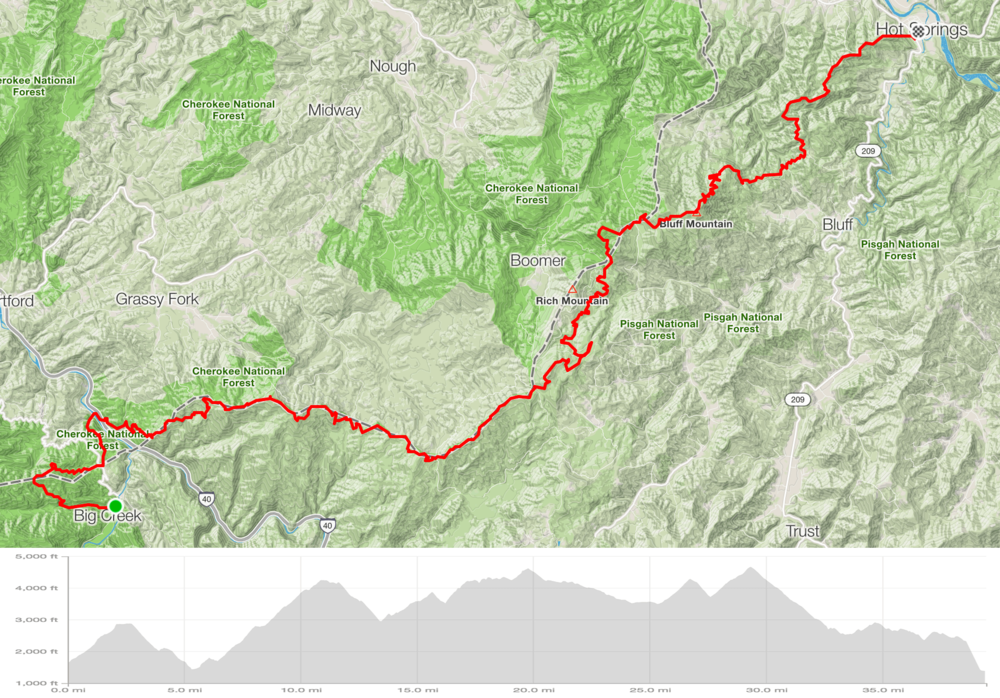 Route and elevation from Big Creek Ranger Station to Hot Springs (40 miles & 10,000 ft gain)