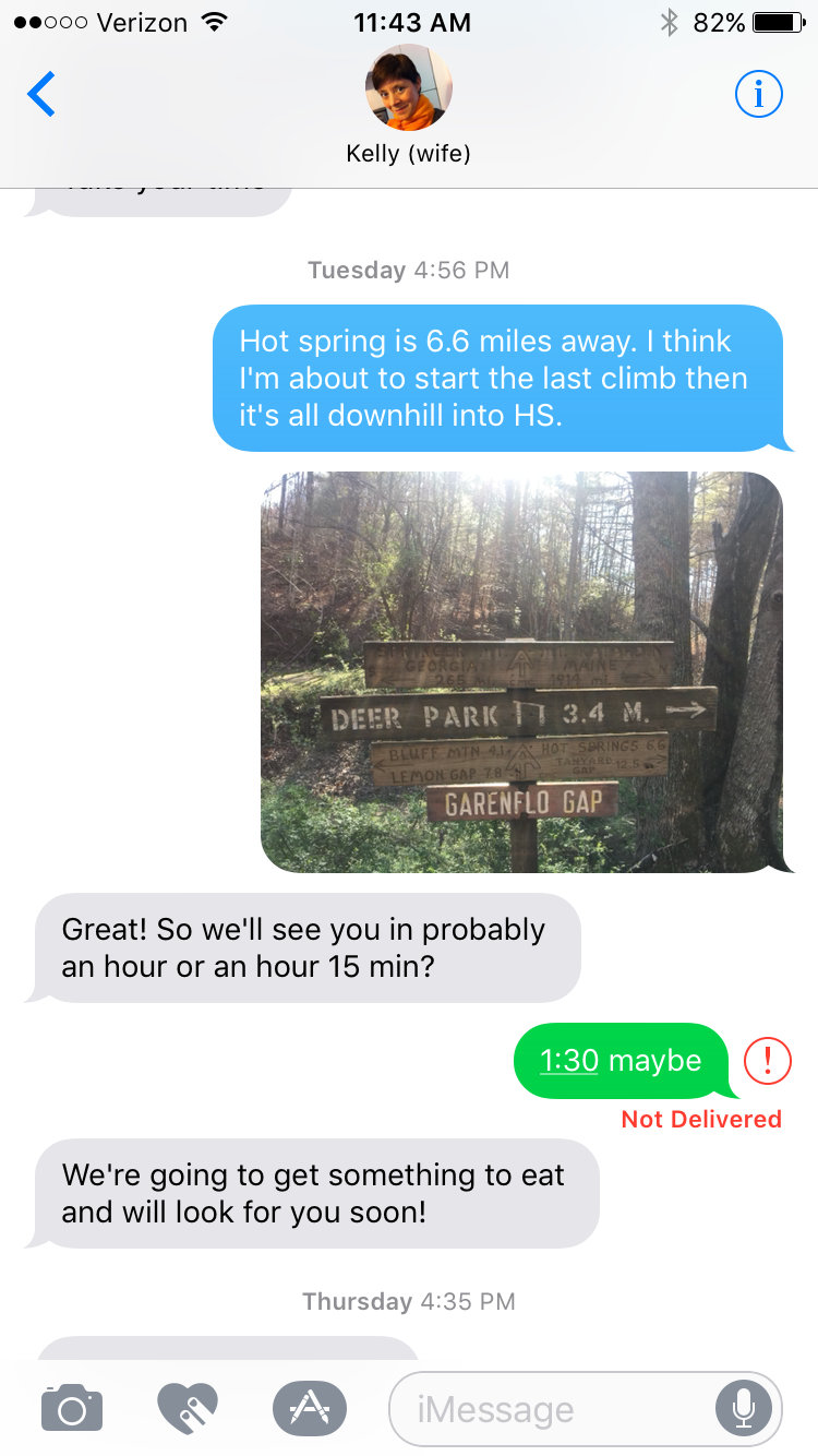 A quick text with my wife coordinating pickup.