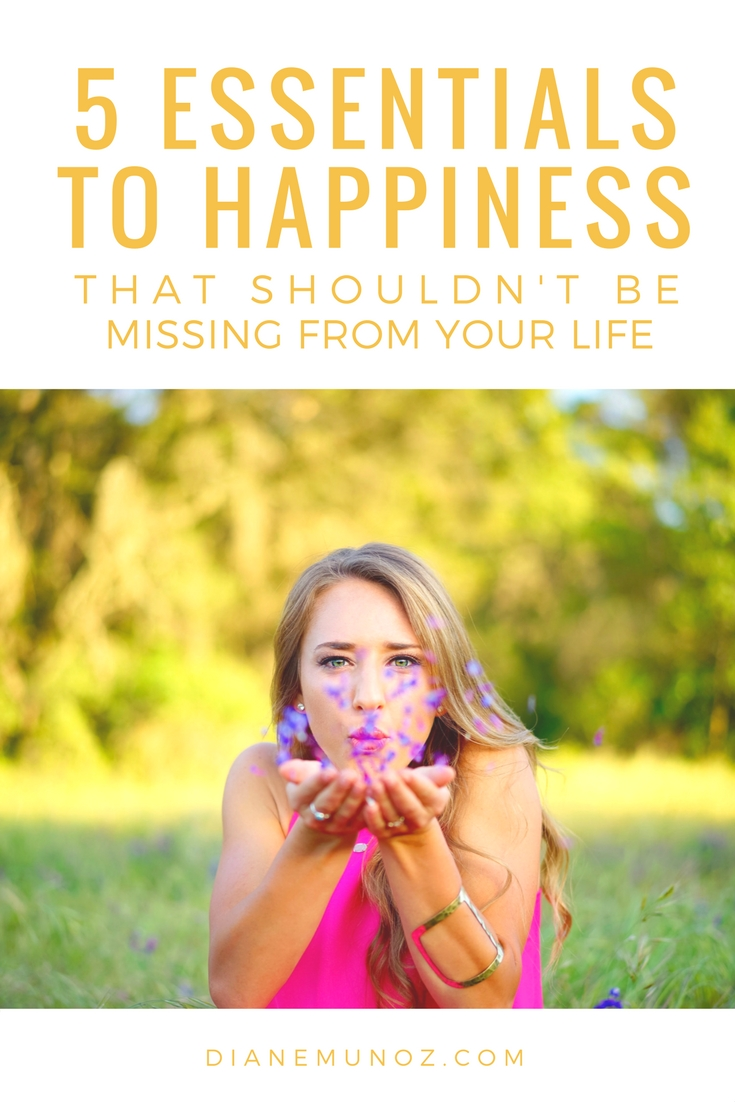 5 Essentials to Happiness that Shouldn't Be Missing From Your Life | dianemunoz.com