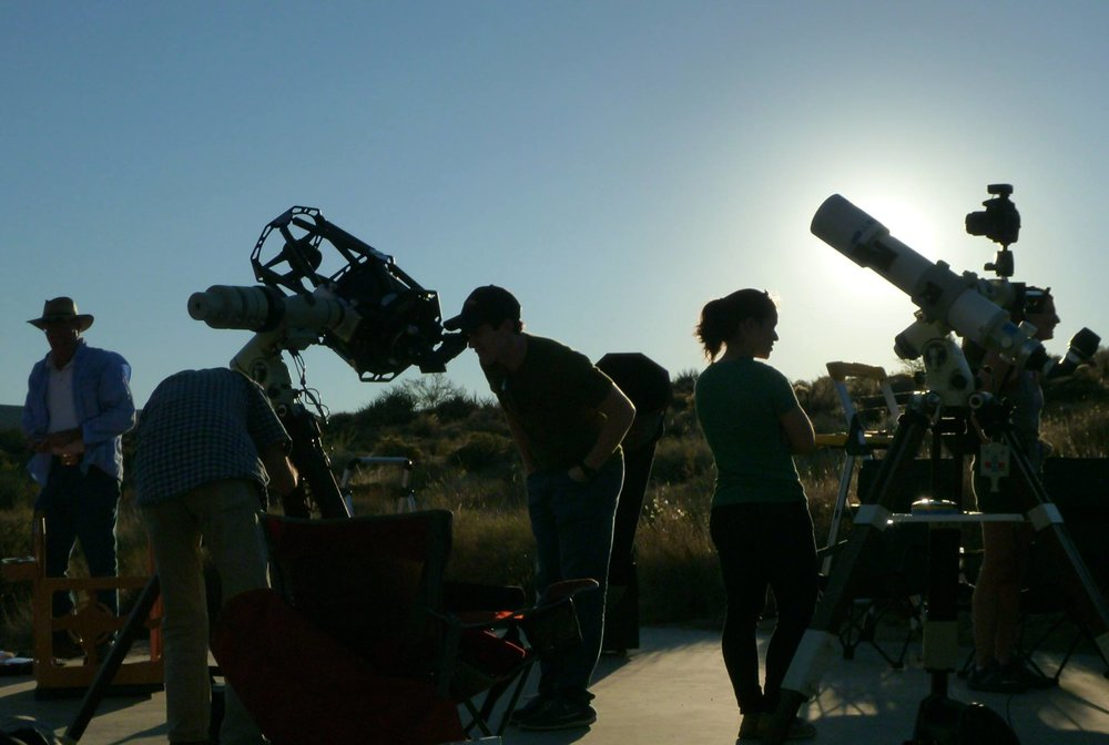 Old Town Astronomers of Pasadena prepare the telescopes for the Star Party at the Mojave National Preserve.