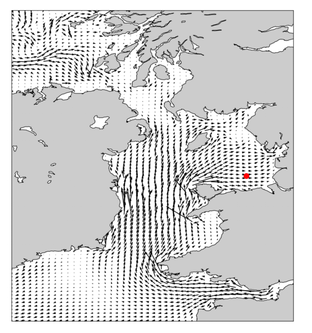 Snapshot of modeled depth-averaged current flow in and around the Irish Sea. The red dot indicates the location where model currents were validated.