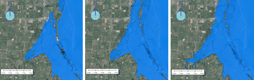 Inundation levels for a 3.5 m combined Sea Level Rise + Storm Tide + Mean High Water Springs for the first high-tide stand (left), a high-tide stand 6-days later (centre) and assuming all land sub 3.5 m becomes inundated (right).