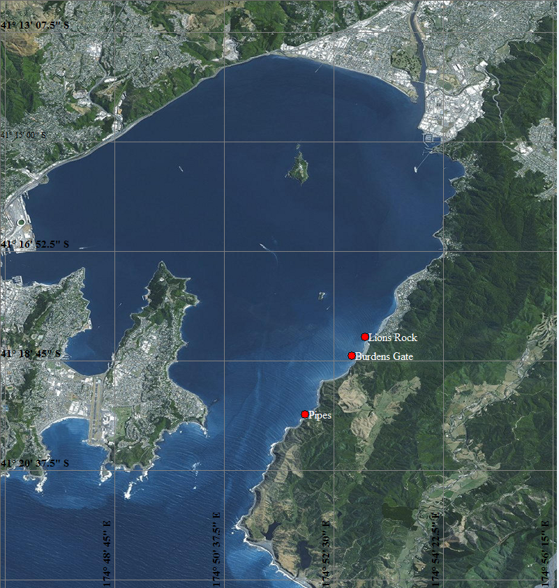 The location of the wave meters on the eastern side of the entrance to Wellington Harbour.