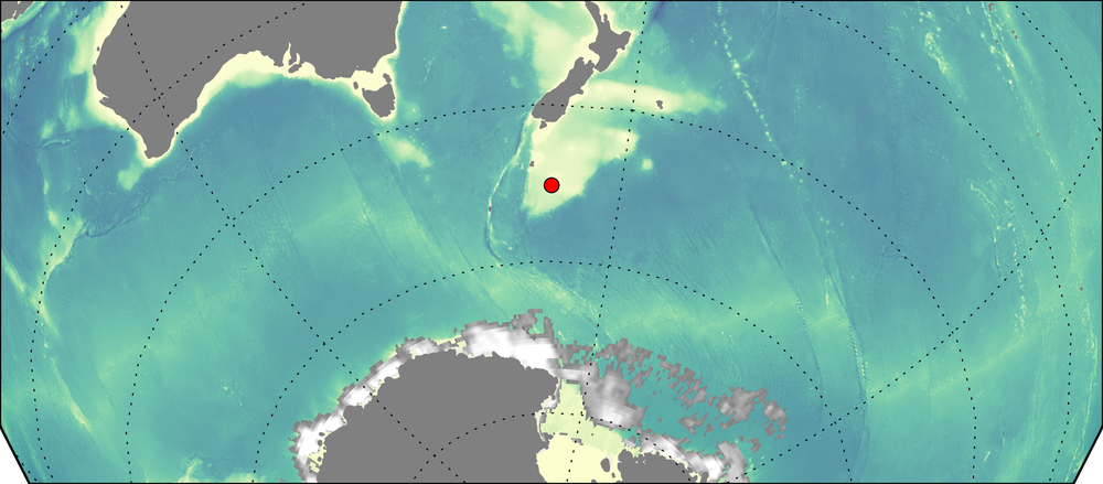 The wave buoy (red dot) is located 11 km south of Campbell Island.