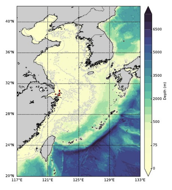 Bathymetry of the East China Sea. Red dots show the locations of measured data used to validate the models.