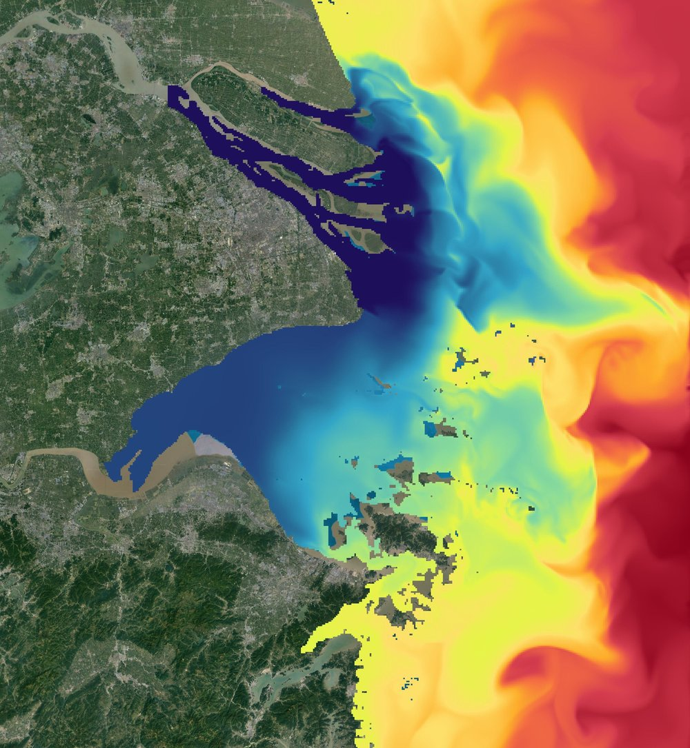 Snapshot of surface salinity from the ROMS model. Blue denotes low salinities; red high.