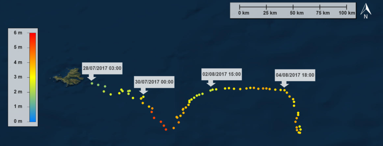 Drift track and significant wave heights measured over the last 10 days.