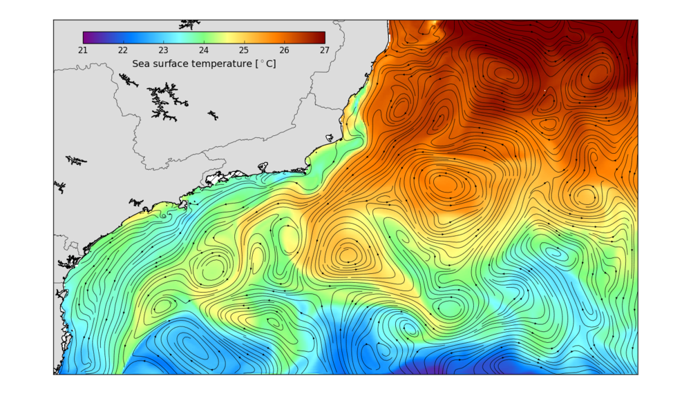 An example of 7-day mean surface current circulation and Sea Surface Temperature (°C) for the south-eastern region of Brazil.