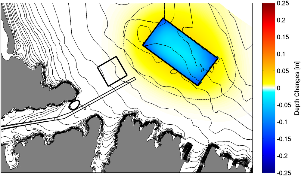Morphological changes predicted at the end of an accelerated 1-year simulation. A positive magnitude indicates sedimentation. The black polygons show the proposed disposal grounds and channel.
