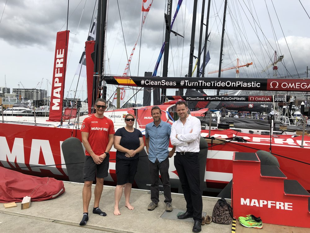 Visit to Auckland`s Volvo Ocean Race Village. Miles Seddon (MAPFRE`s onshore navigator), Sally Garrett (Defence Technology Agency), David Johnson (MetOcean Solutions), and Sam Vernon (Crown Infrastructure).
