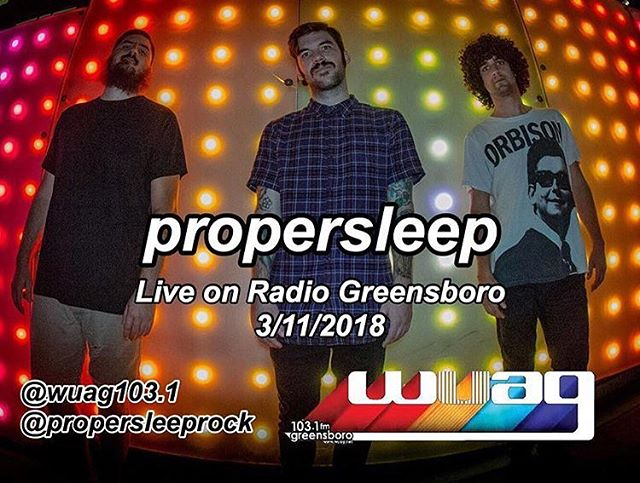"""If you're in Greensboro, tune into 103.1 fm tonight at 8p and if you're not in Greensboro no worries!  On your computer, go to WUAG.net and click """"hear now"""" and on a phone or tablet, get the free app TuneIn (it may ask you to sign up for a subscription but just click the x and you can stream free) and search WUAG. We have a fun set for y'all 🤙🏽#propersleep #cardiganrecords #punkrock #wuag #103.1 #greensboro #radio #live"""