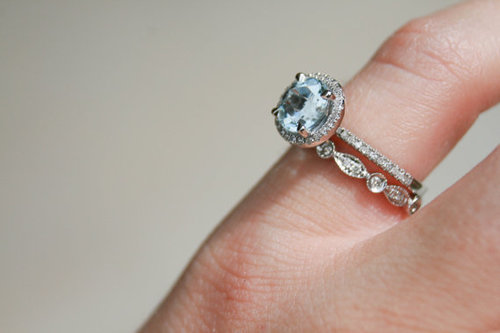 aquamarine wedding set - Aquamarine Wedding Ring