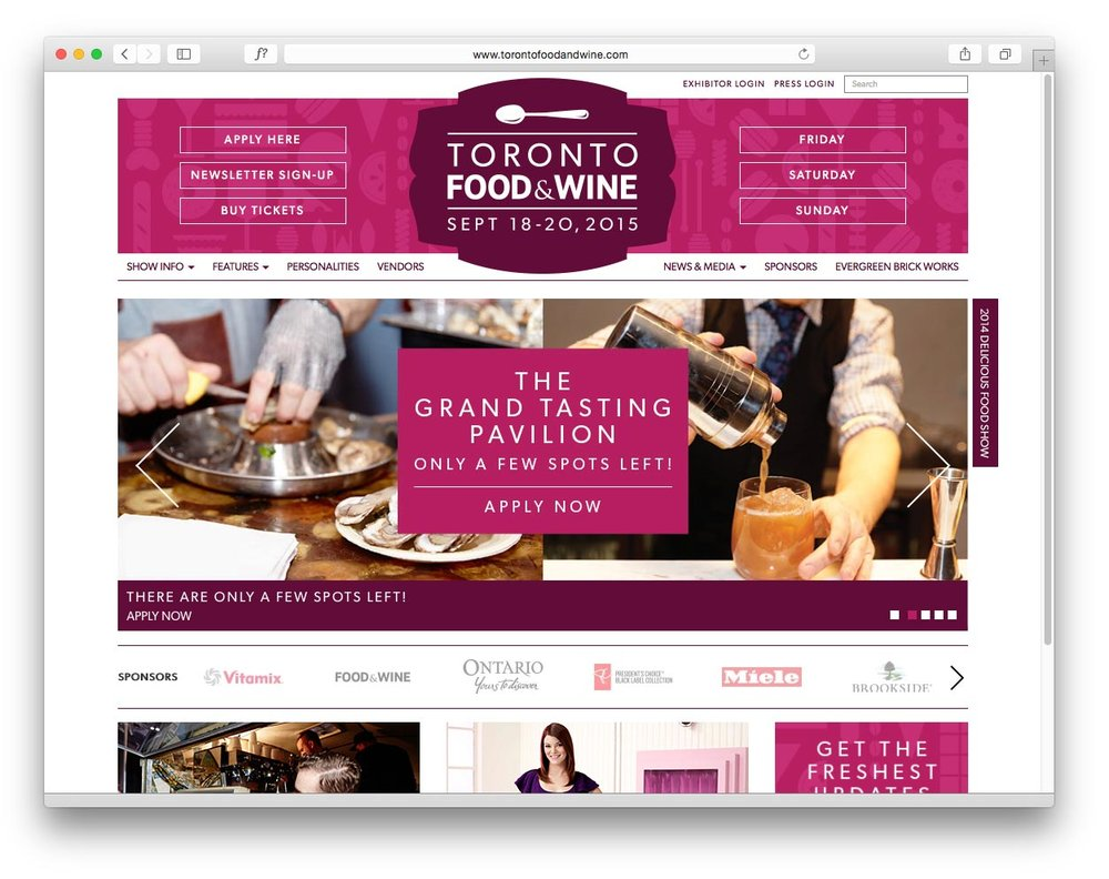 Toronto Food & Wine Show Website Design