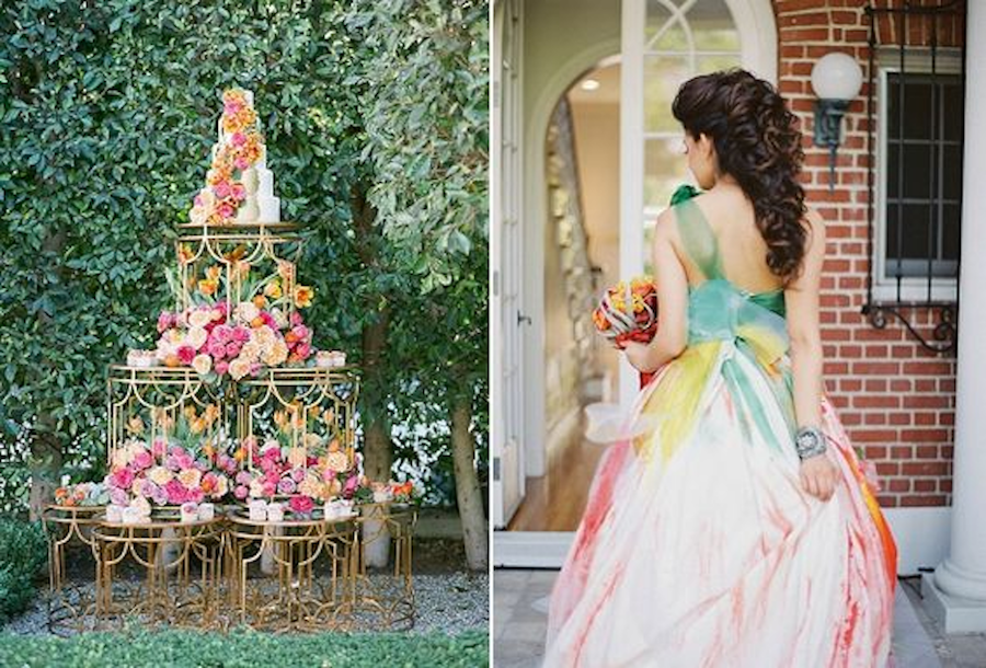 Irene Cole Photography, Sonia Sharma Event, RMINE, Revelry Event Designers ,Casa de Perrin, Hancock Park Estate, Propel Workshop By Caroline Tran Colored Wedding Dress, Vibrant Wedding