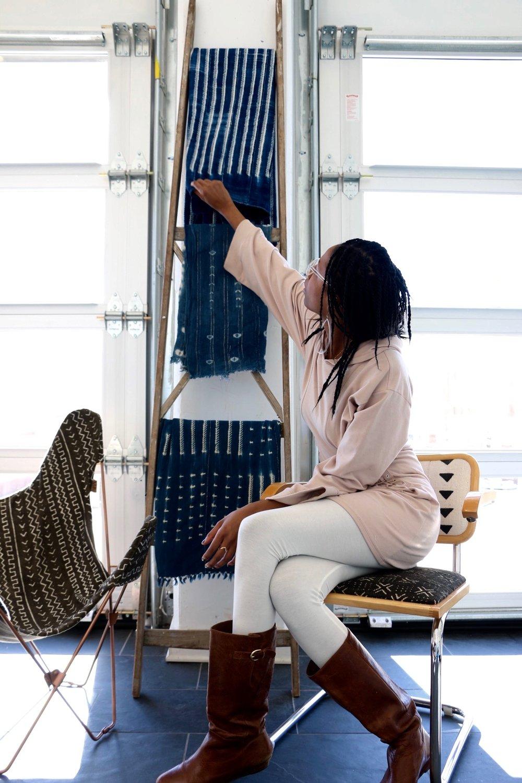 xNasozi Decor - Vintage Indigo Throws & Mudcloth Butterfly Chair Cover. Photo credit: xNasozi