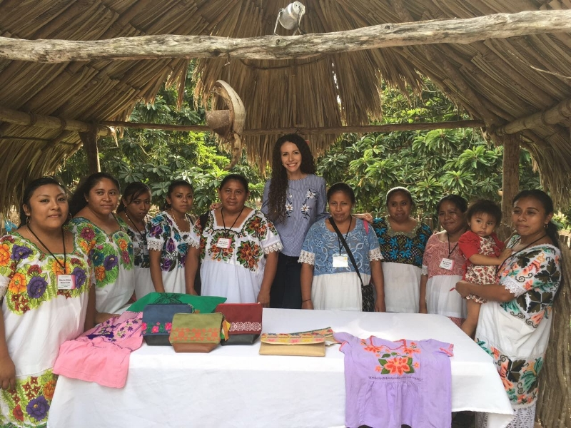 Cristina with a group of Yucatecan embroidery artists