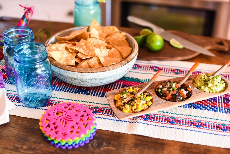 Mexican Street Corn Dip, Pico de Gallo and Guacamole in our Tatu Tray