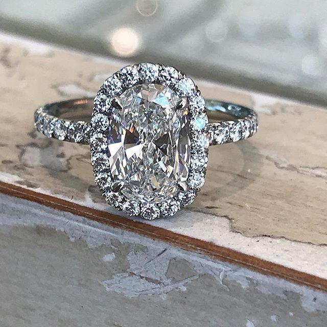 """She said, """"Yes""""! 💍 #YouBet #weddingwednesday #ovaldiamond #perfection #engagementrings #ringideas #bridetobe #timeless #classic #craftsmanship #jewelers #finejewelry #diamondlover #oursouthbay"""