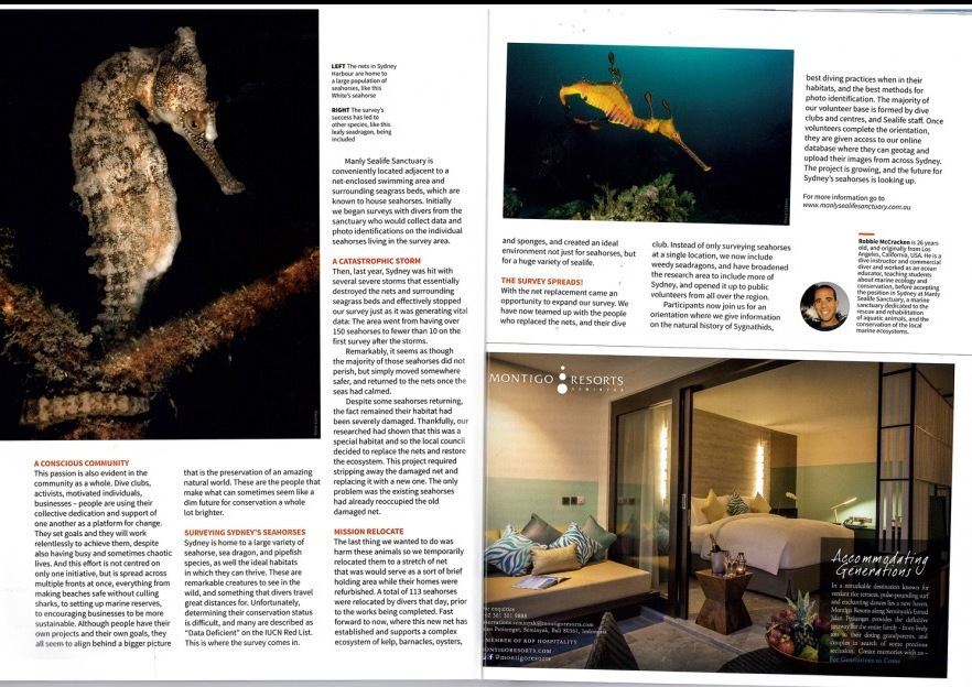 Asian DIver Big Blue Book, special edition for ADEX 2016.  This whole magazine was dedicated to a subject close to my heart, seahorses!  So i was happy to contribute some images. The article is written by Robbie McCracken, who is running the Sydney Seahorse Survey.
