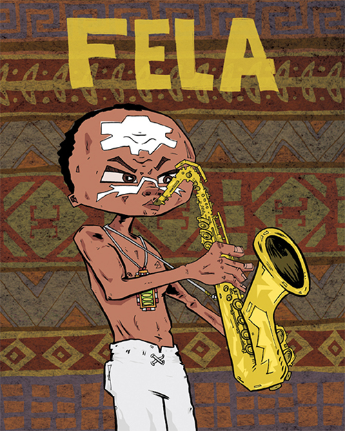 Cover for a children's book biography of Fela Kuti