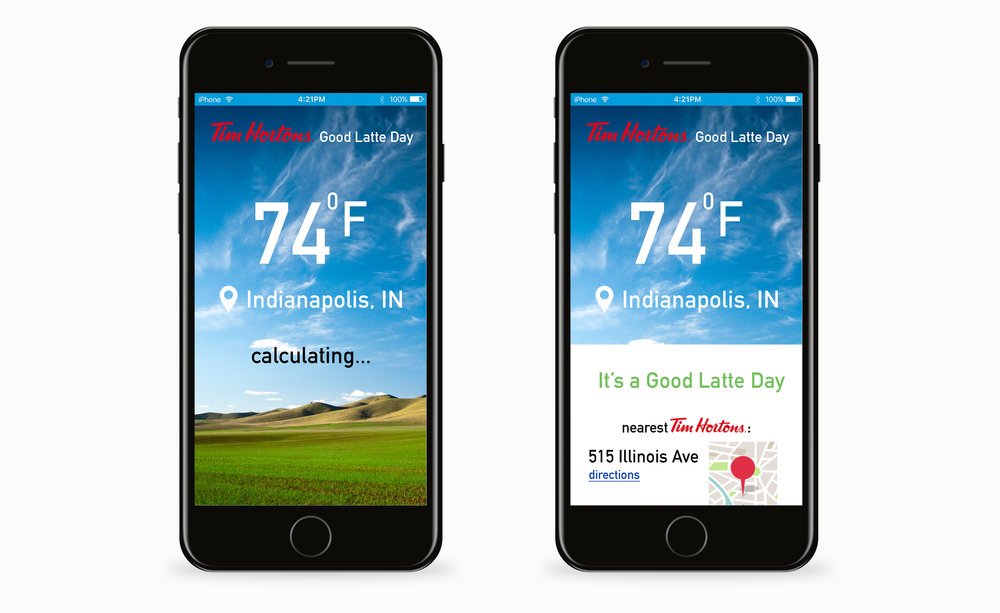 "Create an app that combines traffic conditions, weather conditions, and something else to tell you if it's a good ""latte day"" or not. Offer discounts on lattes on ""good latte"" days."