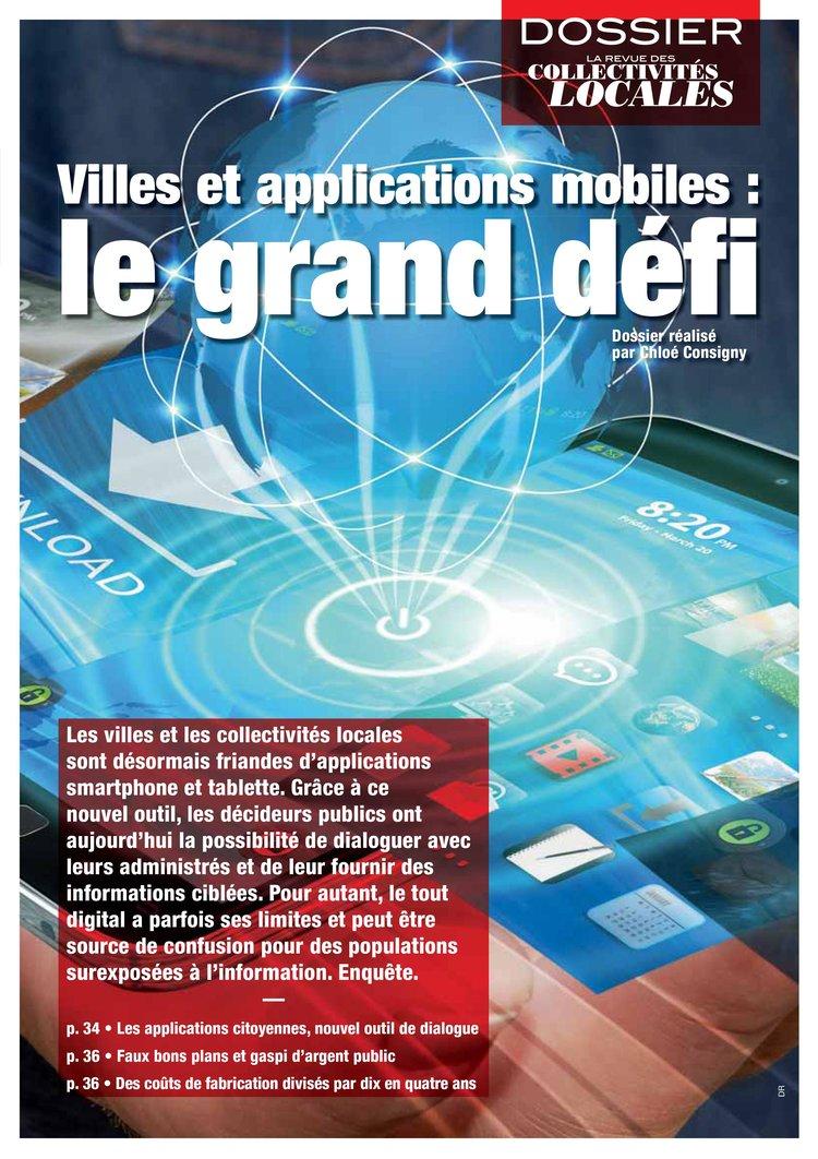 """La revue des collectivités locales """"les villes et leurs applications mobiles"""" -Juillet 2016"""