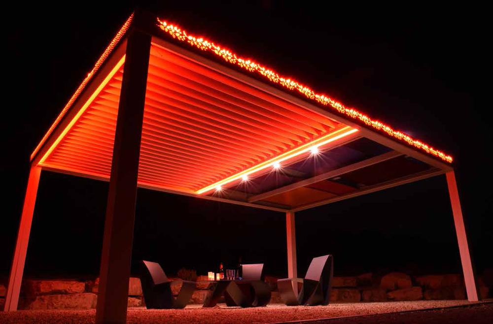 Pérgola iluminada-pergula-pergola-leds-jardins-terraço-estruturas varandas-telheiros