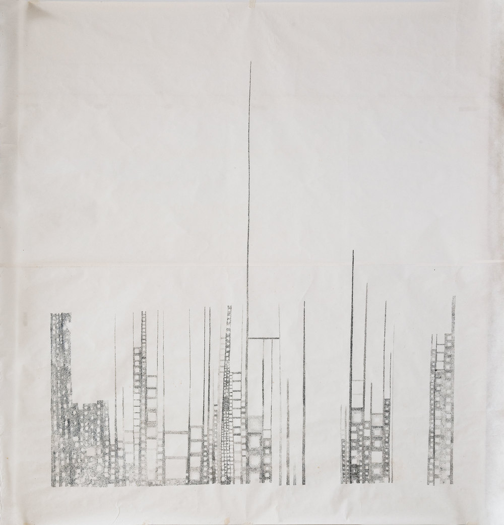 "Skylines 2006. Ink on rice paper. 130cm x 140cm. (51""x55"")"
