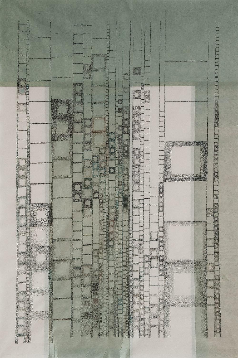 "Skylines 2006. Ink on rice paper. 130cm x 140cm.(51""x55"")"