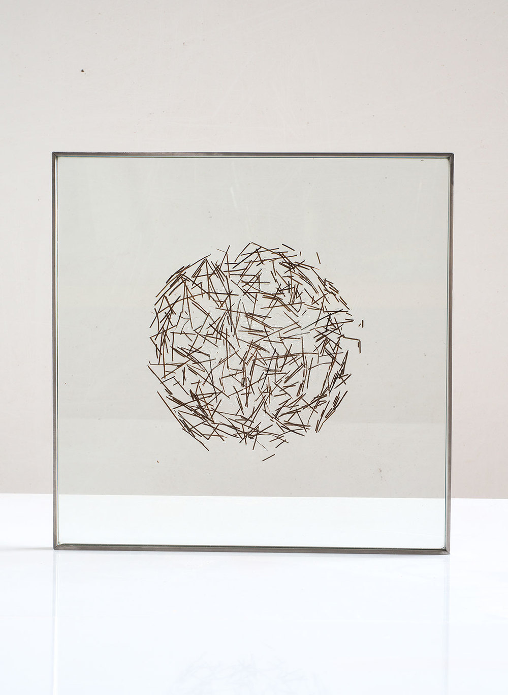 "Pine needles inserted in glass, 2015. 40cm x 40cm. (16""x16"")"