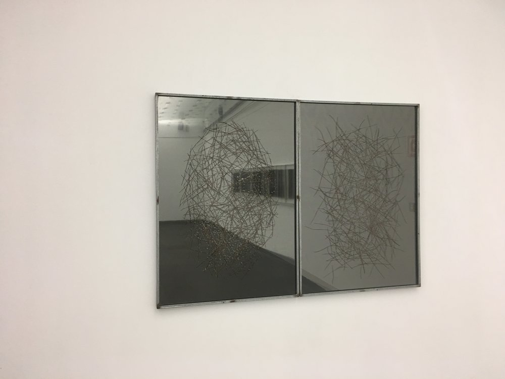 "Mirrors, 2015. Pine needles inserted in glass. 100cmx70cm (39"" x 27"")"