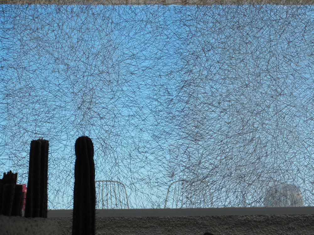 Pineneedles insertions in glass 300x200cm. El Poris, 2015.