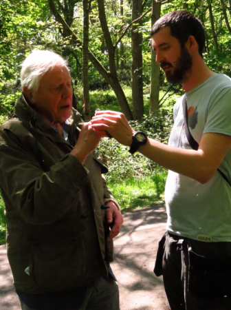 Me, teaching David Attenborough how to hold the bird .