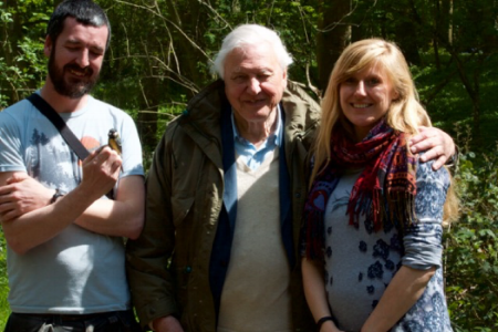 Me, a great tit, Sir David Attenborough, and Ella. I was fine about not being hugged, honestly.