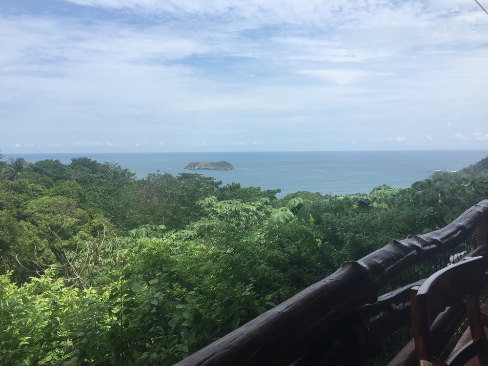 Such a view!  After our long hike through the rainforest at Manuel Antonio, we had lunch at El Avion.  Quirky place with a bar made from an old airplane.  Nice cold beer, great fish, excellent companions.