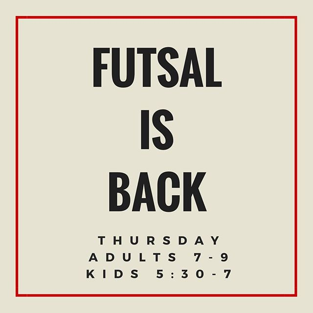 Thursday night kicks off our return to FUTSAL. Kids ages 8-14 from 5:30-7, Adults from 7-9. Reserve your spot by posting here, calling us at 770-709-1686 or emailing reservations@tocanorcross.com. FUTSAL will be held every Tuesday and Thursday.